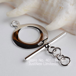 solid 925 sterling silver round toggle clasp for necklace/bracelet making, jewelry OT clasp hook finding,wholesale free shipping