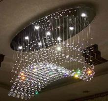 Wholesale flush mount oval modern chandelier crystal lamp L800*W200*h500mm LED light chandelier(China (Mainland))