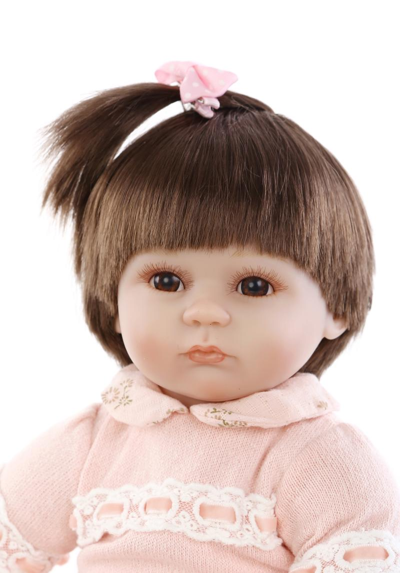Фотография 16 Inch Silicone Reborn Baby Doll kids Playmate Gift For Girls Baby Alive Soft Toys For Bouquets Bonecas