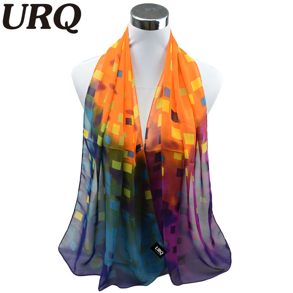 1pc 50*160cm New Design Summer Scarf Korean Style Sweet color Change Square Printed Lady Long Chiffon Scarves P5A16395(China (Mainland))