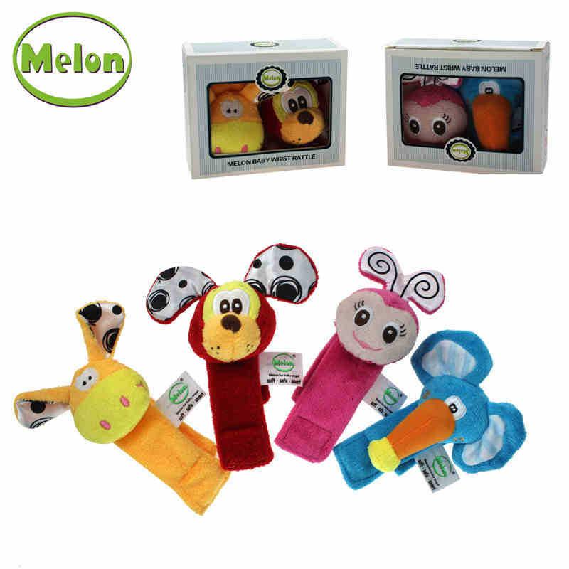 Melon High Quality Plush Rattles Melon Baby Wrist Rattles 2 Pics/ Set Baby Early Learning Toys Sense Toys(China (Mainland))