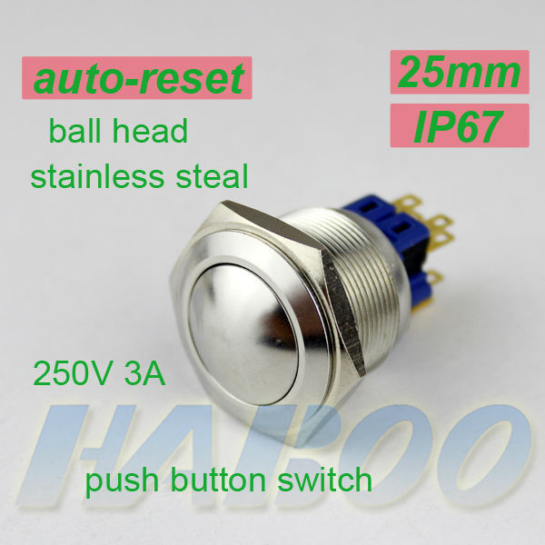 factory directly  reset push button switch diameter25mm metal ball head 10pcs/lot momentary  anti vandal switch 250V 3A IP67<br><br>Aliexpress