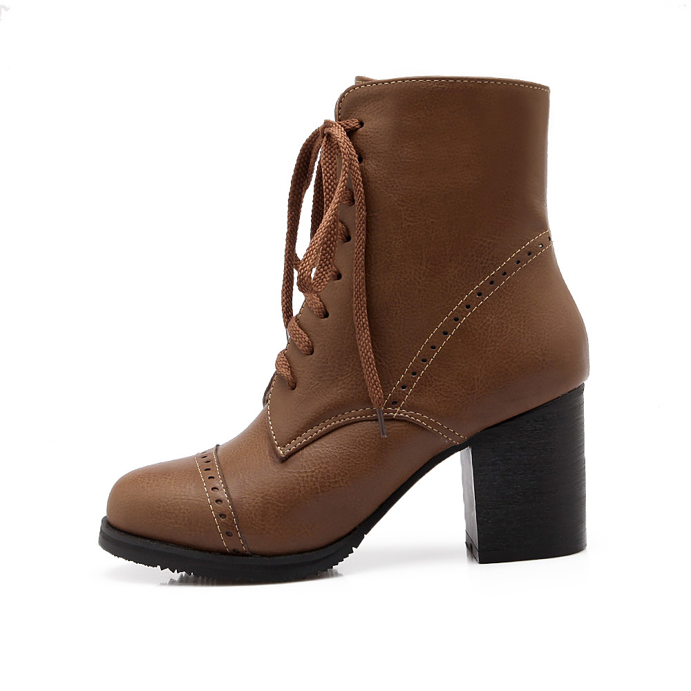 High Heel Ankle Lace Up Boots
