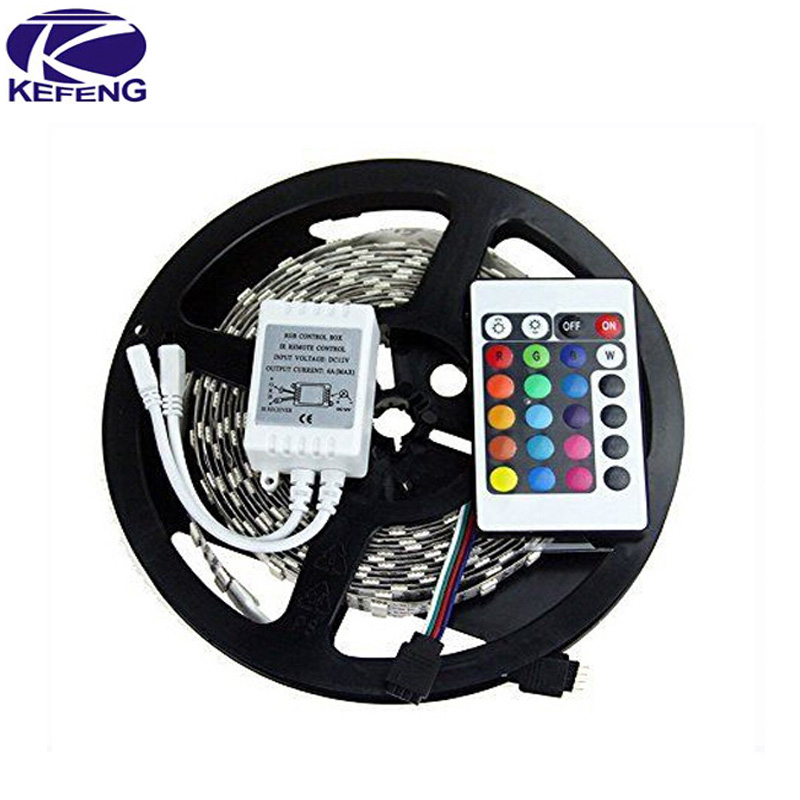 Free Shipping hot 3528 RGB led strip light 5M 300SMD led stripe 24keys SMD IR Remote Controller 5050 led stripe rgb(China (Mainland))