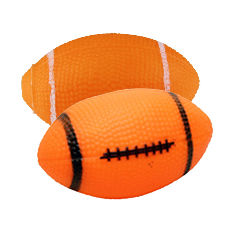 Free Shipping Dog Squeaky Toy For Pet Dog Chew Toy Small Rubber Squeaky Rugby Ball Orange(China (Mainland))