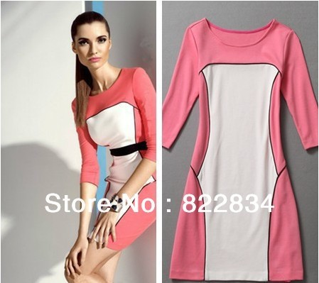 New Patchwork Pink White Dress Women Fall 2013 Casual Bangdage Half Sleeve Cotton Dress Bodycon Mini Women Clothing AW13D005