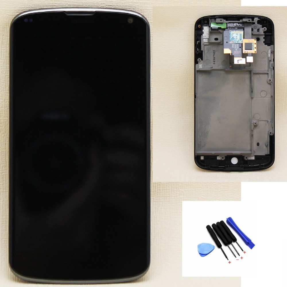 LG Optimus Google Nexus 4 E960 LCD Display Touch Screen Digitizer + Bezel Frame Full Assembly Free Tools replacement part - Top Leading HK Co., Ltd store