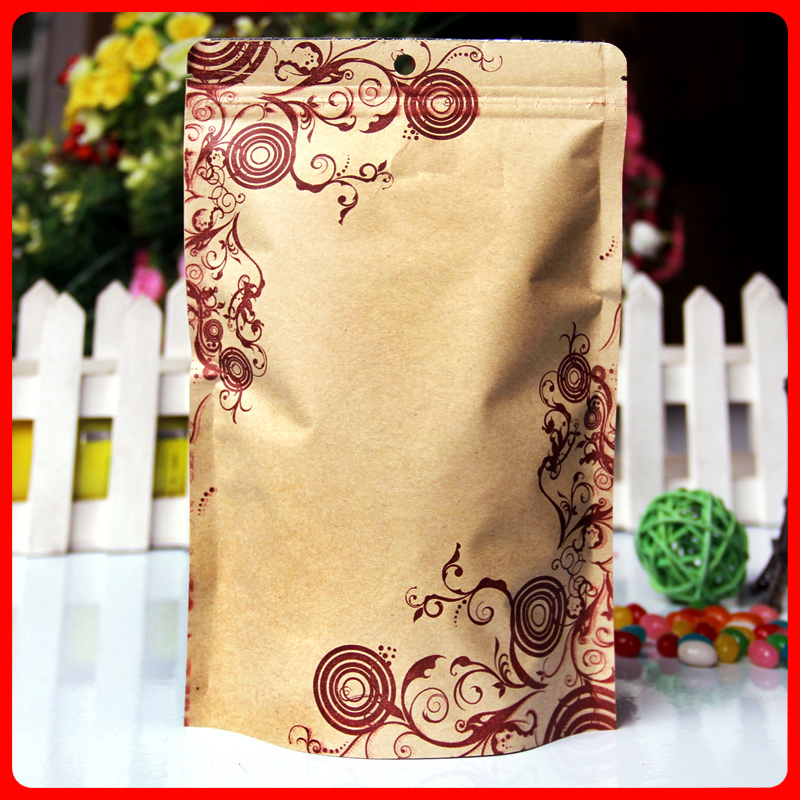 50pcs/lot 18cm*26cm+4cm Bottom *140mic High Quality Food Self Adhesive Bags Kraft Paper Floral Print Packag Bags(China (Mainland))