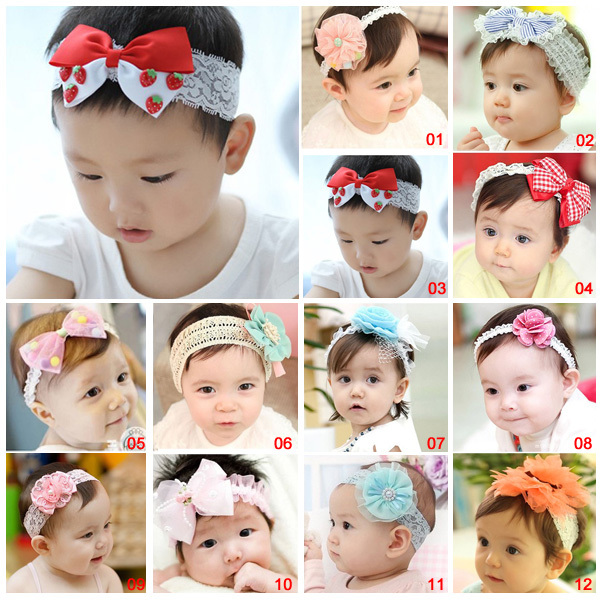12 Styles! 2015 Lovely Elastic Baby Kid Girl Infant Hair Band Lace Trottie Flower cap Hats Hair Accessory(China (Mainland))