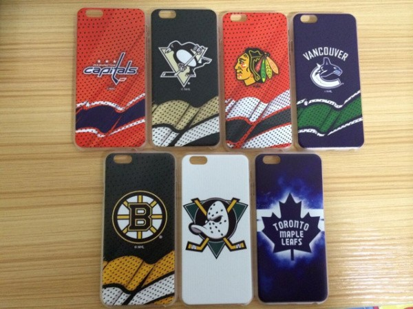 Ice hockey team Blackhawks Ducks Penguins Capitals Vancouver Canucks Bruins Maple Leafs case for iphone 6 plus, 6s plus(China (Mainland))