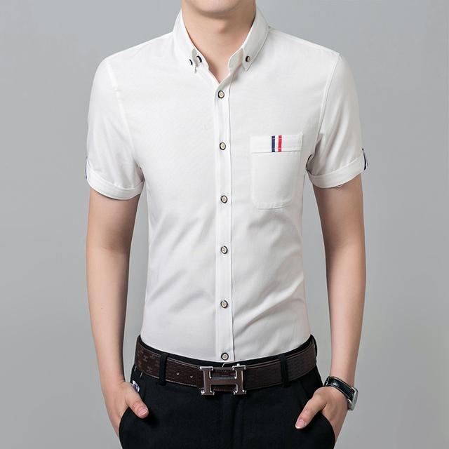 Новый 2016 мужские рубашки мужской свободного покроя бренда уменьшают подходящий ...