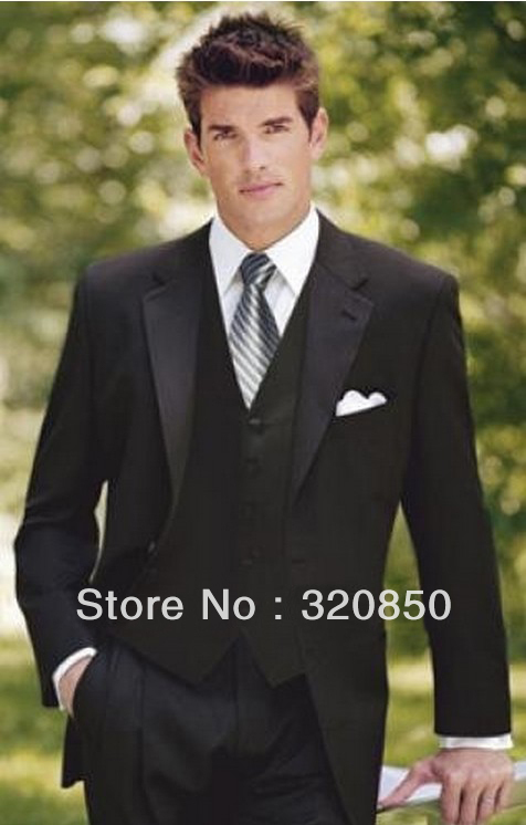 Free shipping/custom made cheap New Stylish black Men's Suits best man suit Groom Tuxedos wedding bridegroom,groomsmen dress(China (Mainland))