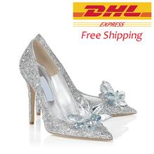 Italian Luxury Brand Women Wedding Shoes Ladies Crystal Cinderella Shoes Point Toe Rhinestone Wedding High Heels For Women(China (Mainland))