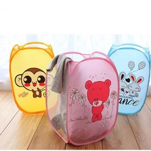 Hot Sell Laundry Bags Cartoon Animal Storage High Quality Net Mesh Hamper Folding Pop Up Laundry Basket Bin 9 Style BS(China (Mainland))