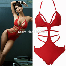 2015 Hot red sexy strappy one piece swimsuit bandage monokini cut out swimwear women bathing suit biquini maillot de bain V149