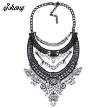 Vogue Necklaces Pendant Girls 2016 Crystal Choker Jewellery Collares Collier Femme Bib Boho Classic Assertion Chunky Silver