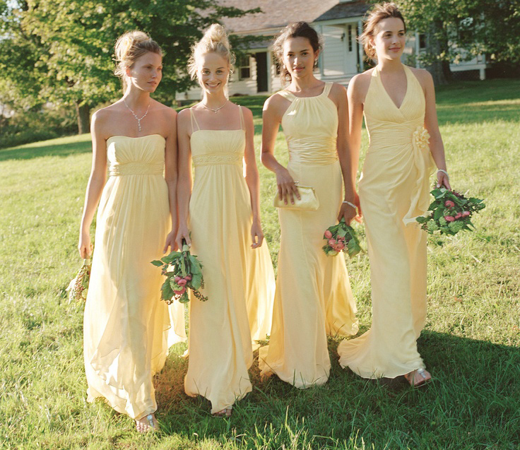Gold chiffon convertible floor length bridesmaid dresses modern dress