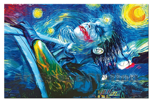 Frame Starry Night Joker Abstract Oil Painting Printing Waterproof Canvas,Modern Comics Poster Picture Wall Decoration - Art SpaceStation's store