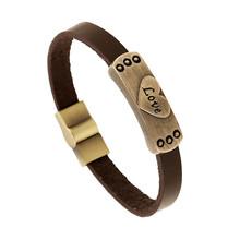Punk Retro Male Cool Leather Love Heart Bracelet Biker Mens Steampunk Leather Jewellery CC10907