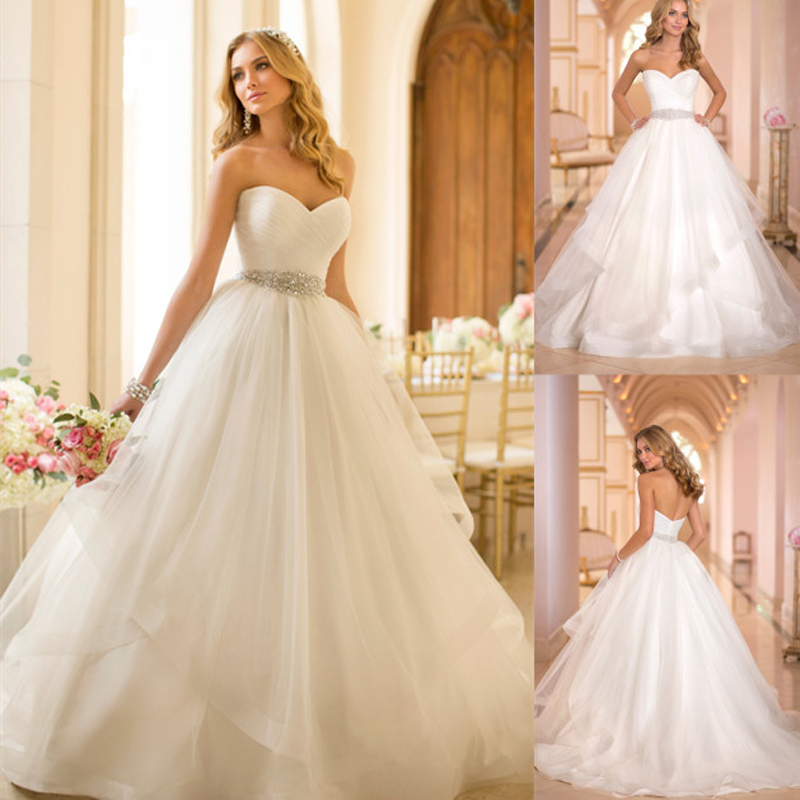 New Simple Elegant Ball Gown Wedding Dresses 2015 Appliques Long Wedding Dresses Bridal Gowns