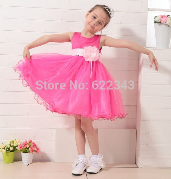 Girl Dress 2~12 Years First Communion Pink White Lace Flower Girl Dress Sleeveless Little Girls Evening Gowns 3D Flower Pageant(China (Mainland))