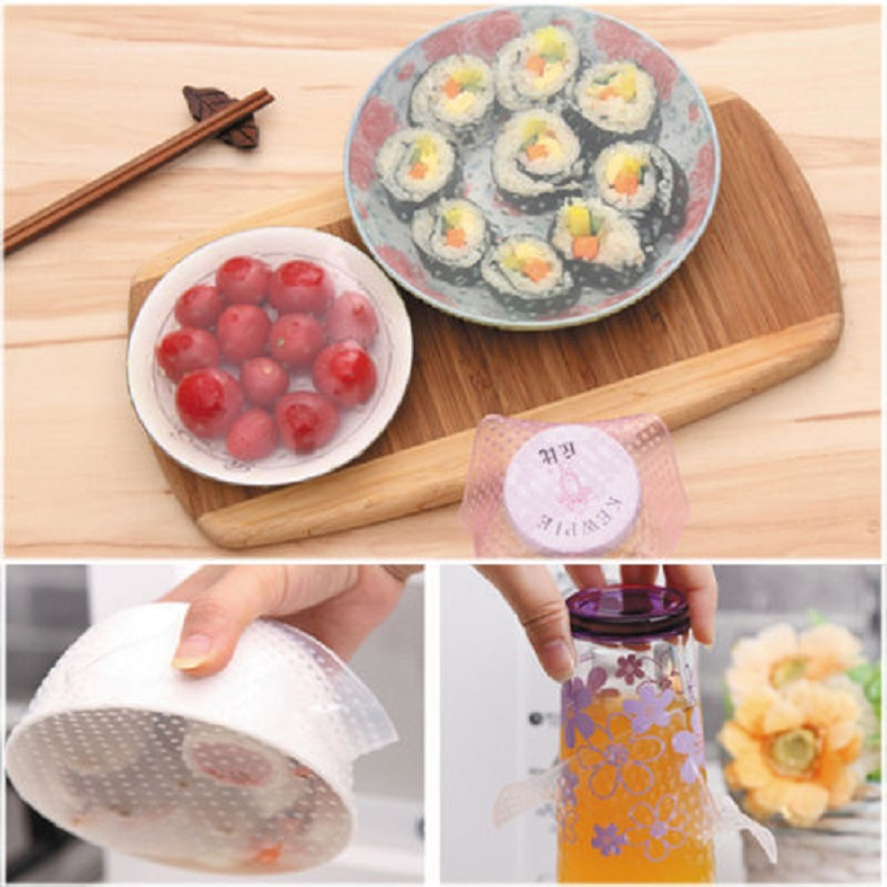 New Fresh Keep Kitchen Tools cooking tools 4pcs Silicone Wraps Seal Cover Stretch Cling Film Food Best Selling(China (Mainland))