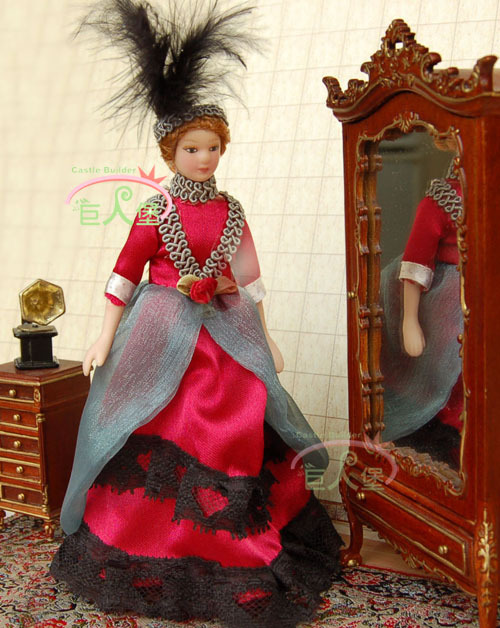 "1:12 Dollhouse Porcelain Poseable Victoria Lady Girl 5 3/4""H PP007L"