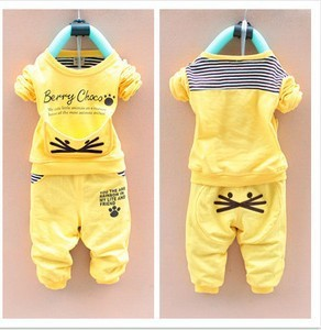 Baby Girl Sale Coat Worsted 2016 Spring-autumn New Clothing O-neck Cat Cotton Full Sleeve Set Suita141 - Sean Children Clothes store