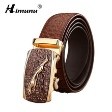 Buy Himunu Brand Men's Genuine Leather Belt Luxury Alligator Automatic Buckle Belts Men Fashion Cowskin Leather Belts Men for $18.91 in AliExpress store