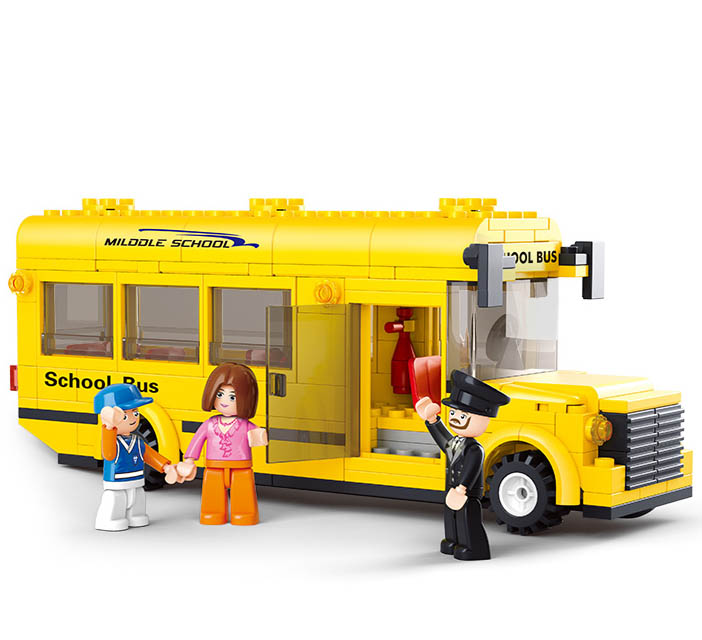 Children Block Set Compatible with Hercules school bus traffic Building 3D Construction Brick Educational Hobbies Toys for Kids(China (Mainland))