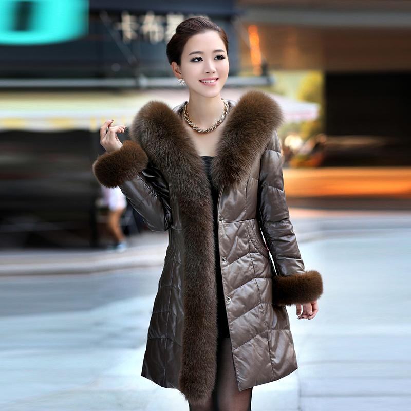European Style Womens Elegant slim genuine sheepskin down coat women long leather winter warm down big fox fur parka plus size Одежда и ак�е��уары<br><br><br>Aliexpress