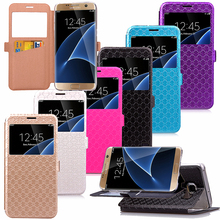 For Galaxy S7 edge window case Ling font b plaid b font Wallet PU Leather Folio