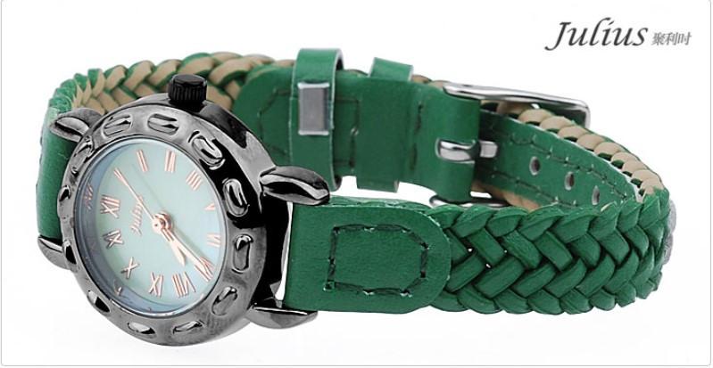Женщин юлий леди наручные часы кварцевых часов ретро мода браслет вязать кожа оболочки группа рим девушка подарок на день рождения JA495