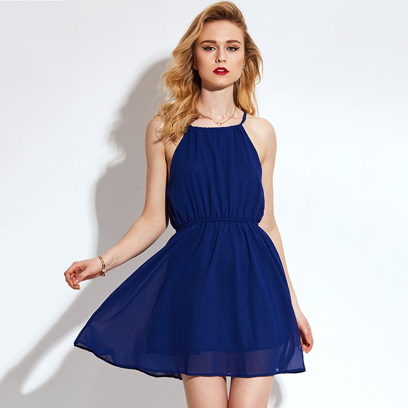 Young 17 Summer Dress Cheap Blue Beachwear Sexy Sweet Halter A-Line High Waist Chiffon Dress Summer Patchwork Short Beach Dress(China (Mainland))