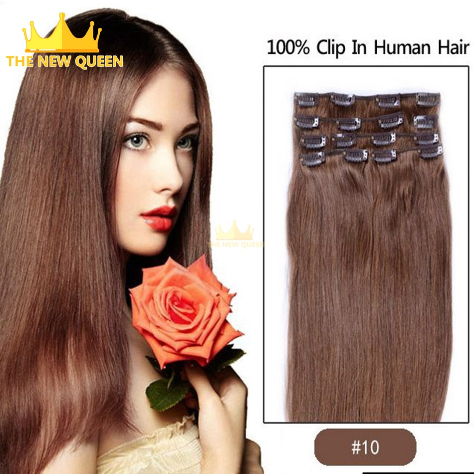 10#  Brazilian Remy Clip In Hair Extensions 7pcs/set 16 clips In Natural Hair Extensions Full head Set 1set/lot Free shipping<br><br>Aliexpress