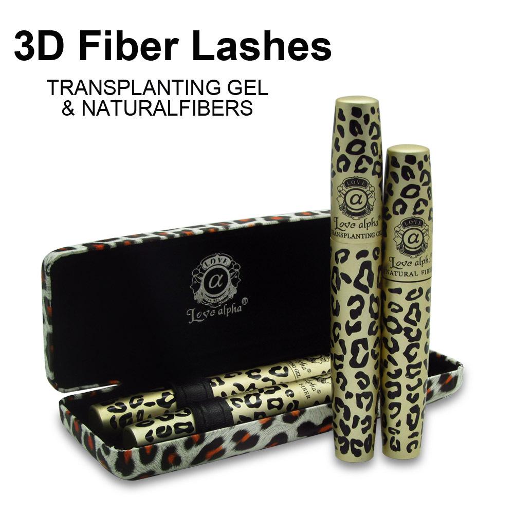 Hot Love Alpha 3d FIBER LASHES Mascara rimel makeup set 1set =2pcs maquiagem Wild Leopard waterproof double mascara(China (Mainland))