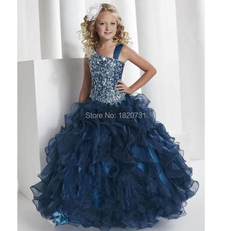 2016 Ball Gown Organza Scalloped Flower Girls Dresses Sleeveless One Shoulder Wedding Party Dress Beads Ruffles Girls