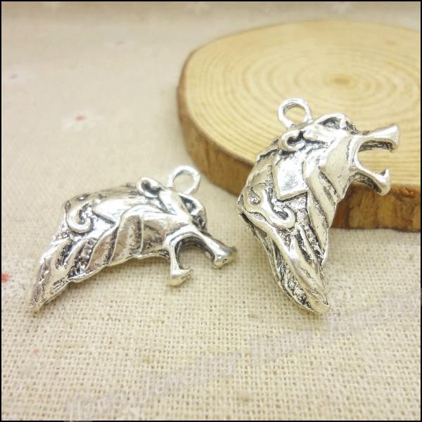 Wholesale35pcs Tibetan silver Langtou Charm necklace pendant fits bracelet handmade fashion jewelry accessories(China (Mainland))