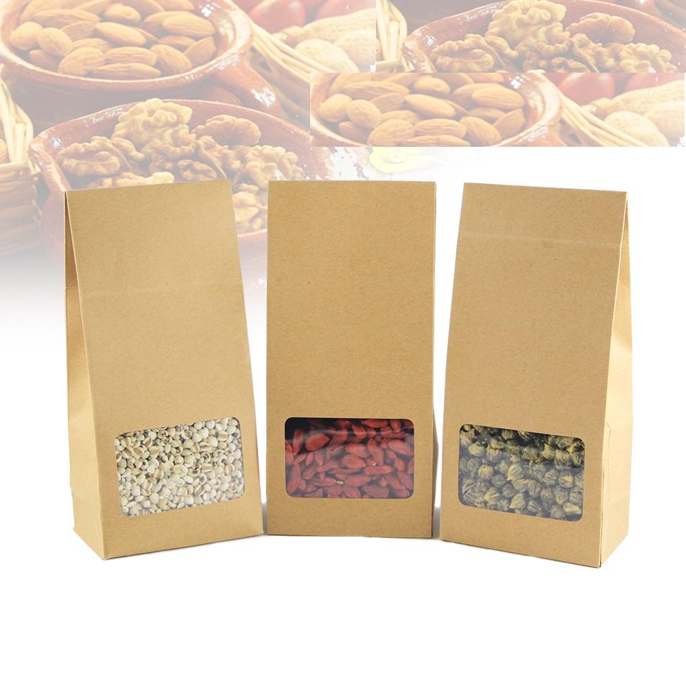10*23cm 25Pcs Kraft Paper Gift Bag For Tea Powder Nut Food Cookie Packaging folding Bags Gift Bag For Children(China (Mainland))