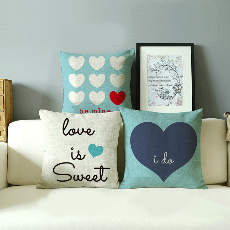 High quality linen cotton sofa cushion covers pillow covers,car chair home accessories.wedding gift,I do love sweet heart(China (Mainland))