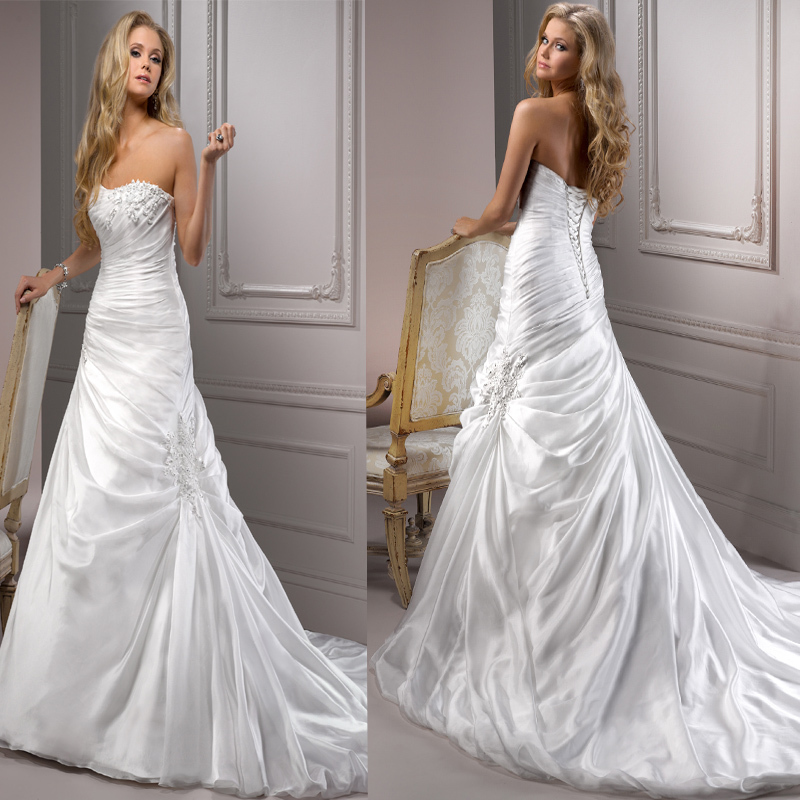 2015 Hot Sale Real Sample Sexy Free Customize High Quality Vestido De Noiva Pleat Pearls Beading Strapless A-Line Wedding Dress(China (Mainland))