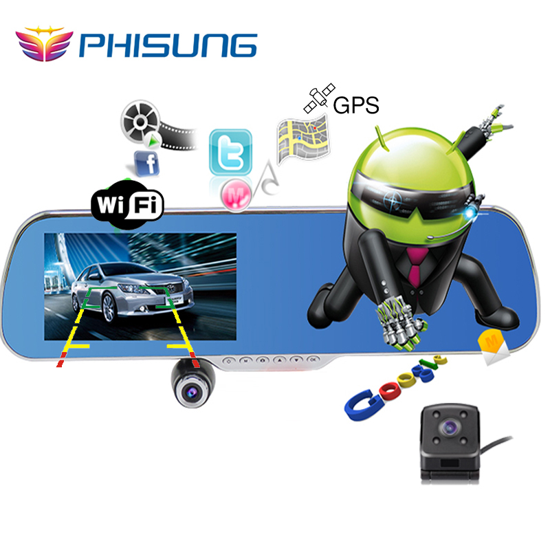 """5.0"""" IPS Touch Android 4.4 ROM 16GB FHD1080P dash camera parking car dvrs Rearview mirror video recorder Car DVR Dual Camera GPS(China (Mainland))"""