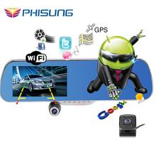 Новый 5.0 » сенсорный андроид GPS WiFi FM FHD 1080 P даш камеры парковка автомобилей видеорегистраторы зеркало заднего вида видеорегистратор автомобильный видеорегистратор с двойной камерой GPS