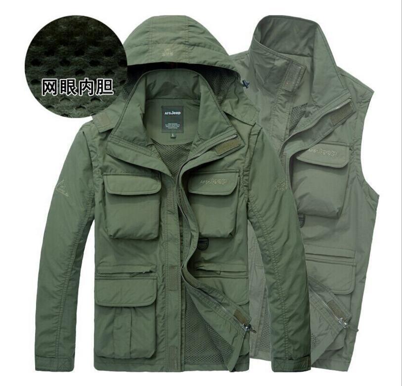 Detachable sleeves Men Vest Men's Jacket Multi Pocket Waistcoat Gilet Erkek Yelek Male Coat chaleco caza(China (Mainland))
