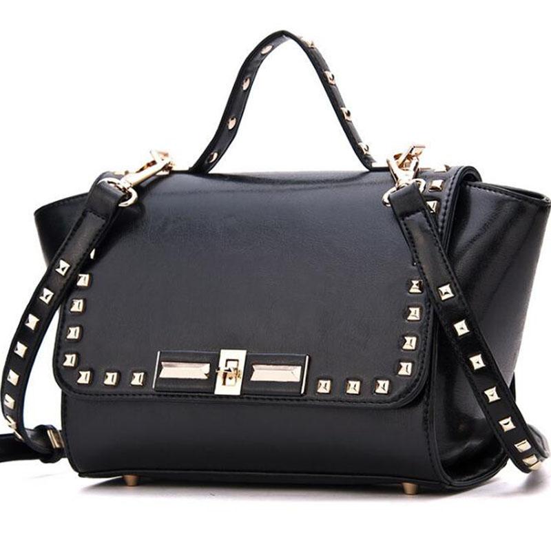 Europe Luxury Brand Rivet Women Leather Handbag Messenger Bag Shoulder Bags Ladies Top-Handle Bags Valentine Tote Package FR277(China (Mainland))