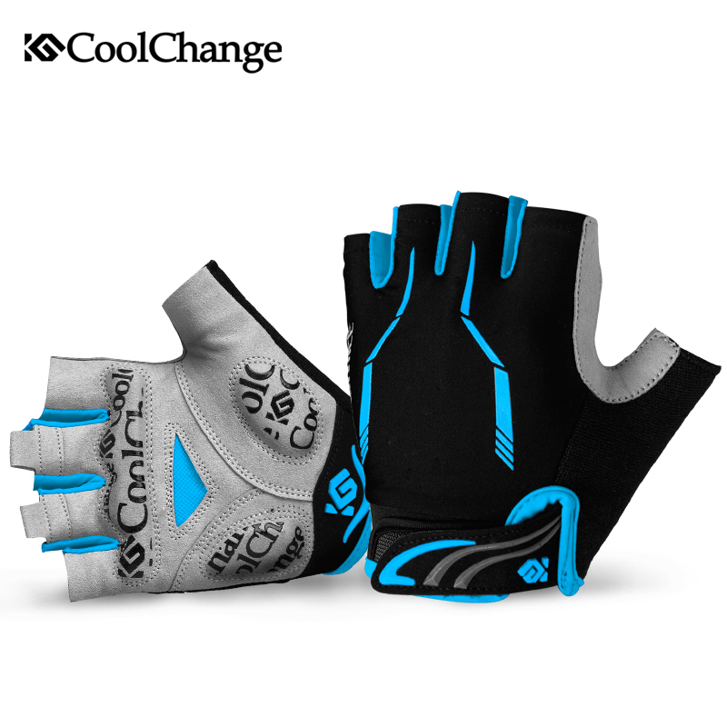 Coolchange Men Cycling Gloves Half Finger Gel Polyester Lyric Material Mtb Bike Gloves Sport Bicycle Gloves(China (Mainland))
