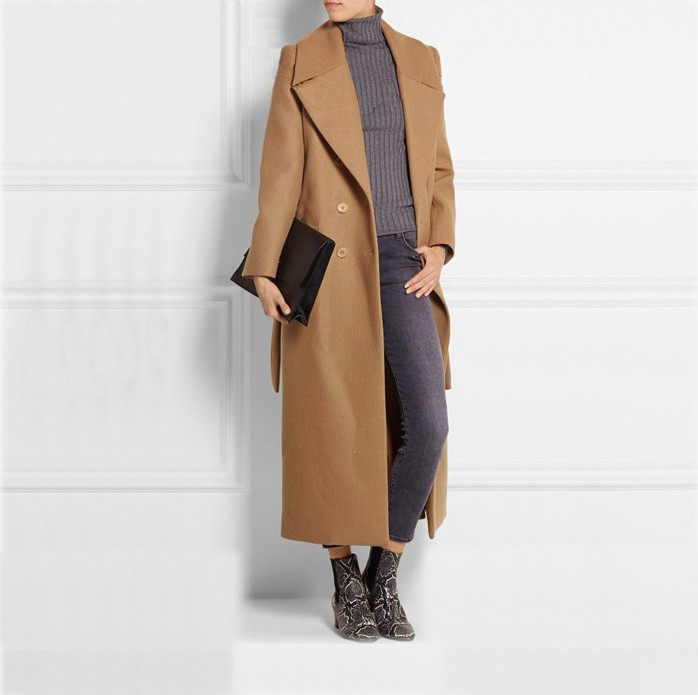New Arrival Women's Ultra Long Autumn Winter Wool Coats Camel Jackets Double Breasted Woolen Overcoat Trench Plus Size(China (Mainland))