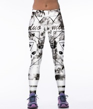 2016 Hot Skull Letter 3D Digital Printing Casual Fitness Women Sports Leggings Running Pants Elastic Slim Jeggings