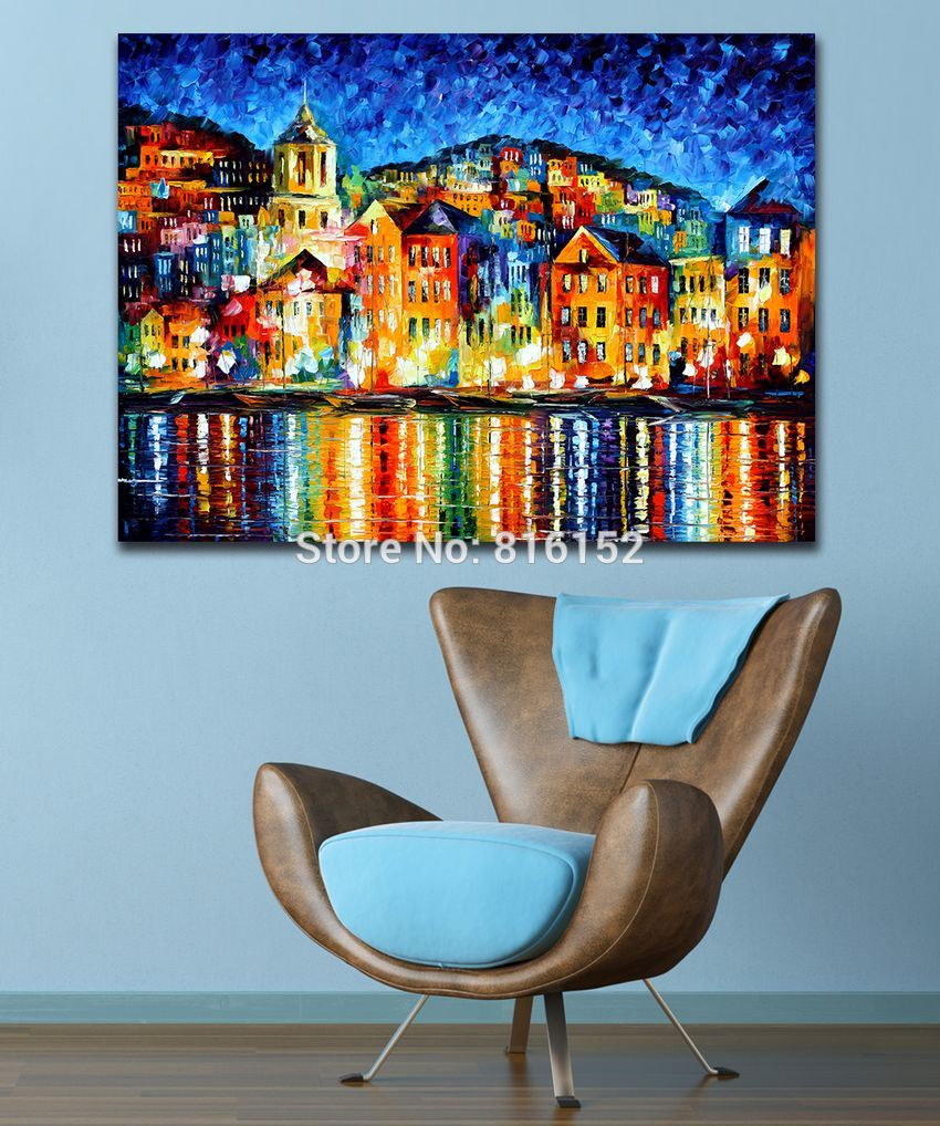 Buy 100% Hand-painted Palette Knife Painting Attractive City Harbor at Night Canvas Painting for Living Room Home Decor Art No Frame cheap