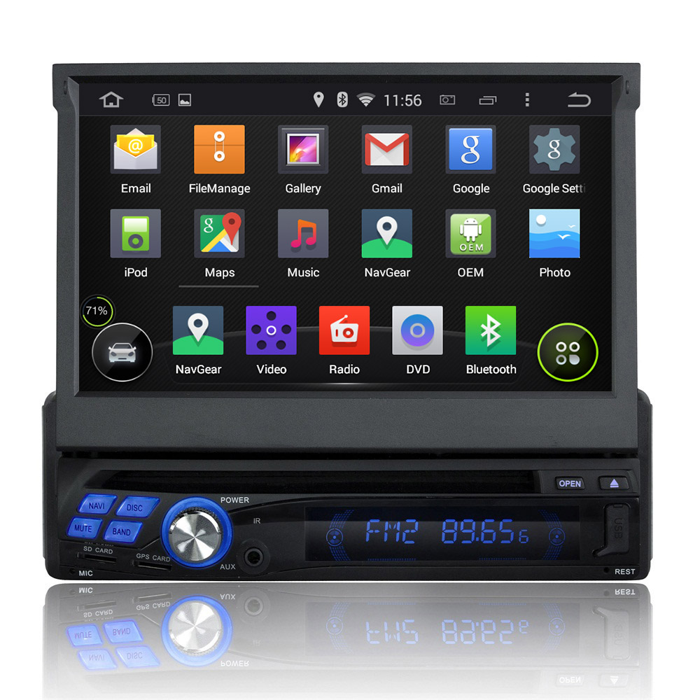 7 Inch 1 Din Android 4.4.4 OS Universal Car DVD Player,BT,Touchscreen GPS Navigation,Radio(China (Mainland))